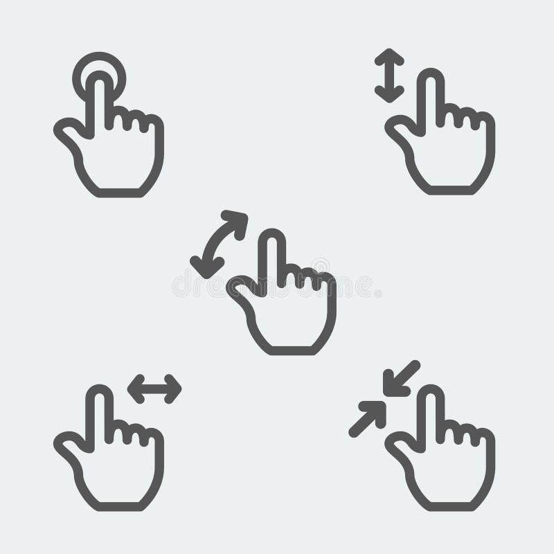 El tacto multi gesticula la línea fina muestra del icono del web ilustración del vector