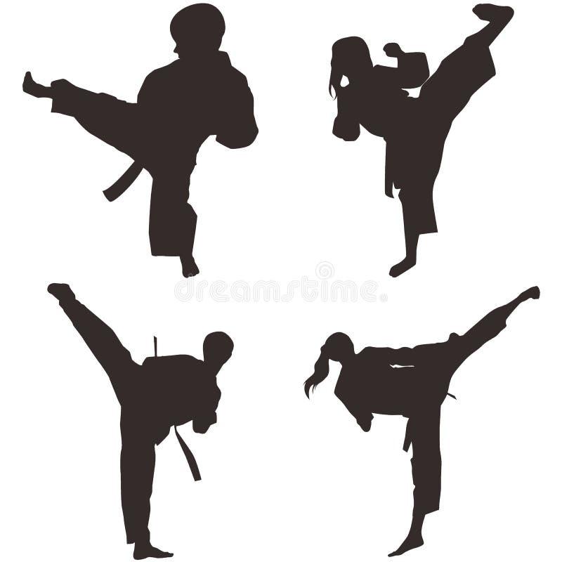 El Taekwondo Shillouette stock de ilustración