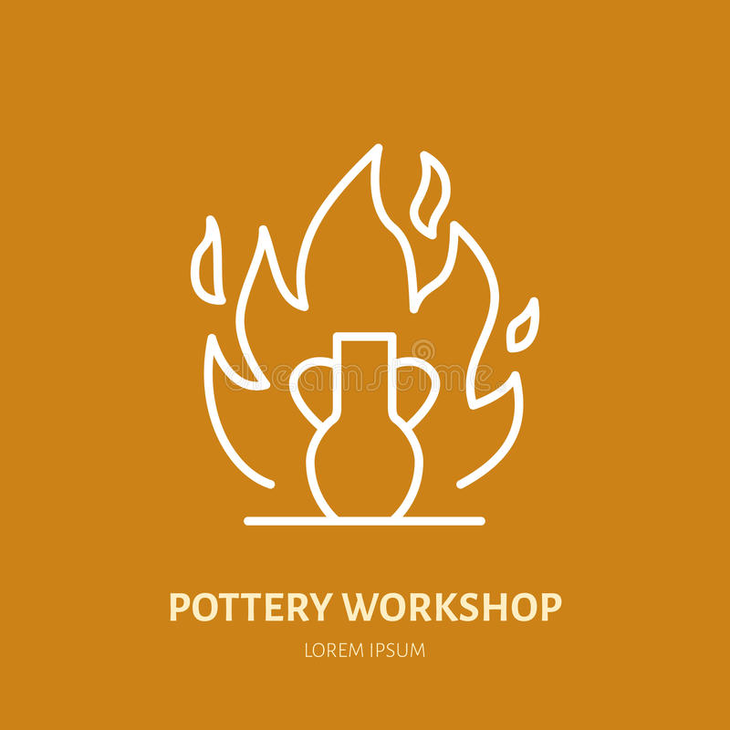 El taller de la cerámica, cerámica clasifica la línea icono El estudio de la arcilla equipa la muestra Edificio de la mano, escul libre illustration