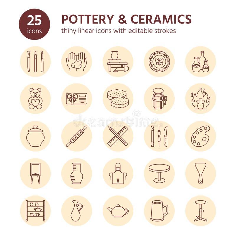 El taller de la cerámica, cerámica clasifica la línea iconos El estudio de la arcilla equipa muestras Edificio de la mano, esculp ilustración del vector