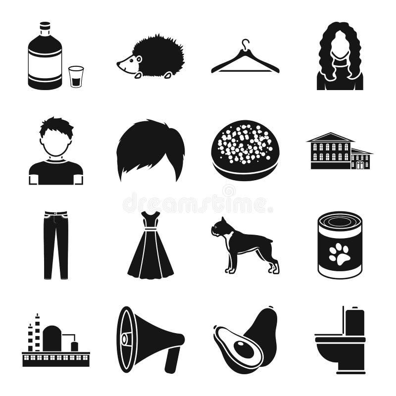 El taller, el aspecto y el otro icono del web en estilo negro ilustración del vector