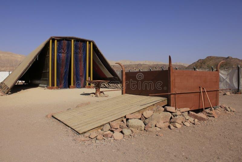 El tamaño real modelo del tabernáculo en el desierto builded por la población de Israel bajo mandamiento de Moses foto de archivo libre de regalías