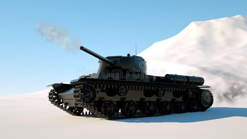El tanque acorazado militar se mueve a través de la nieve La foto 3d realista rinde libre illustration