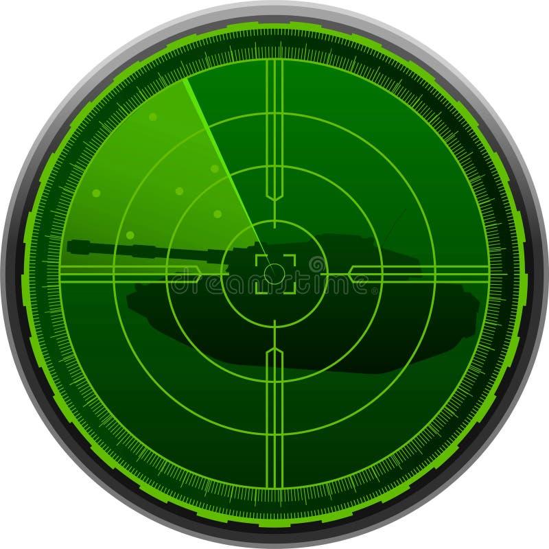 El tanque de la pantalla de radar ilustración del vector
