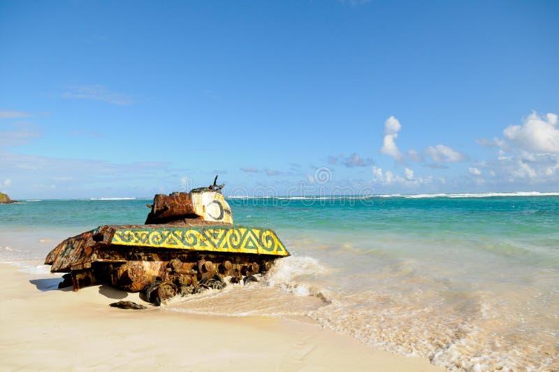 El tanque de la playa de Culebra imagen de archivo