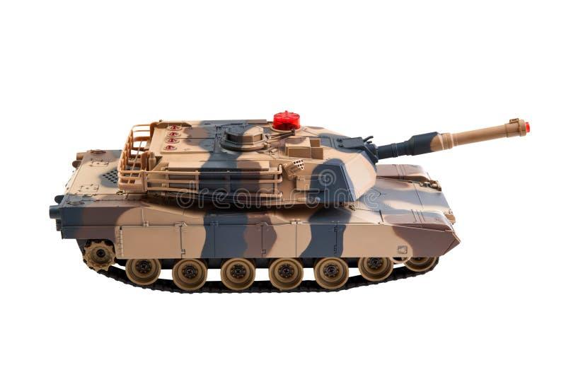 El tanque del juguete en blanco imagenes de archivo
