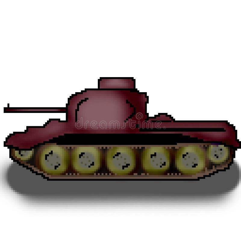 El tanque multicolor militar exhausto del pedazo del pixel 8 stock de ilustración