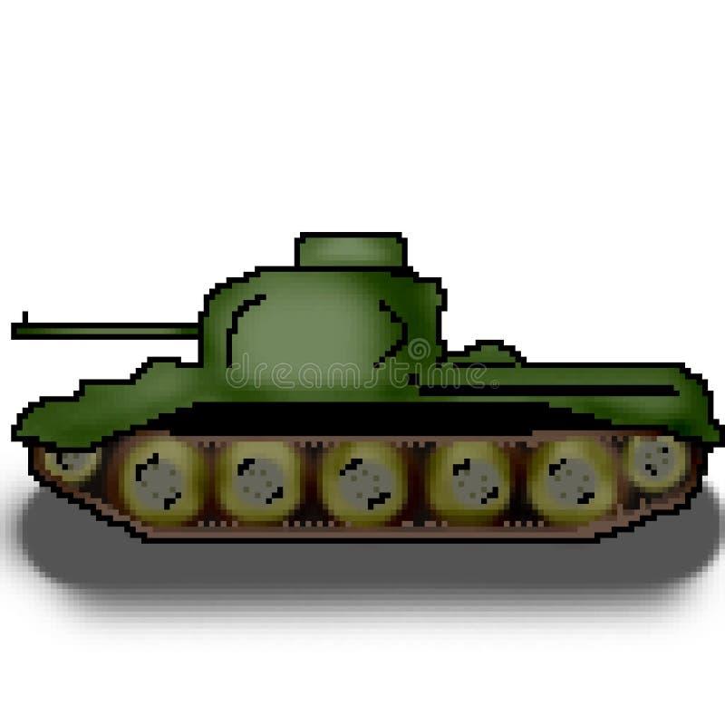 El tanque multicolor militar exhausto del pedazo del pixel 8 ilustración del vector