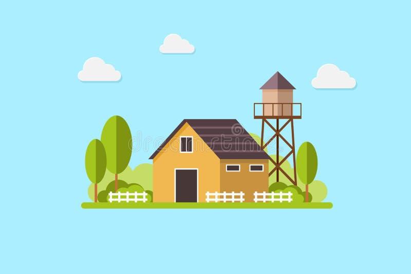 El tanque residencial lindo de la casa de campo y de agua, paisaje del país, plantilla plana de moda del diseño del vector del es ilustración del vector