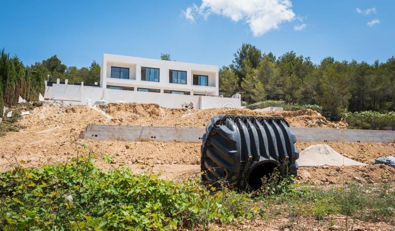 El tanque séptico foto de archivo
