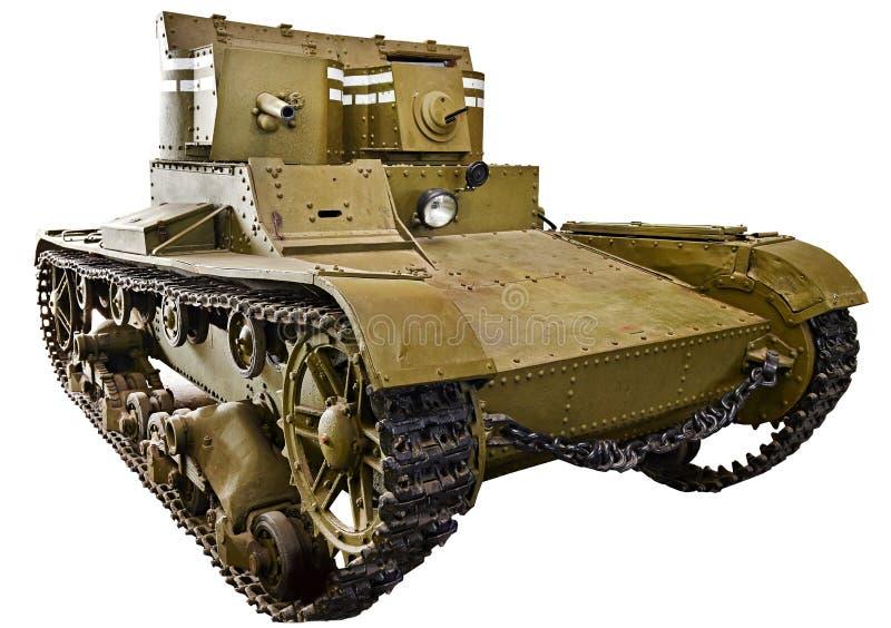 El tanque soviético T-26 de la gemelo-torrecilla de la infantería ligera aislado foto de archivo