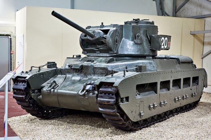 El tanque viejo Matilda II de la infantería en museo fotos de archivo