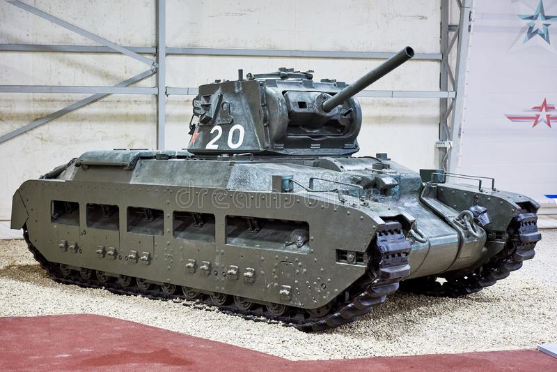 El tanque viejo Matilda II de la infantería en museo fotos de archivo libres de regalías