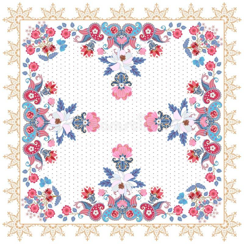 El tapetito o el pa?uelo hermoso imprime con Paisley y los manojos de fondo blanco de OM de las flores del jard?n Marco ornamenta stock de ilustración