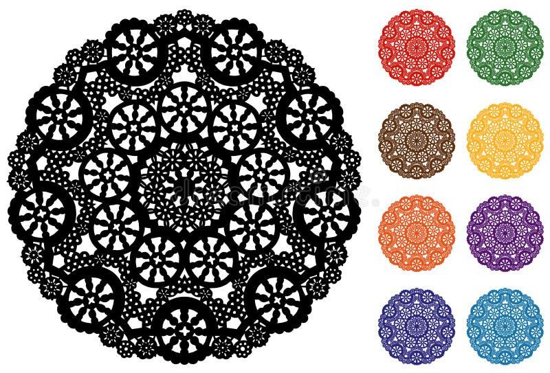 el tapetito redondo del cordón del copo de nieve de +EPS, 9 Jewel tonos ilustración del vector
