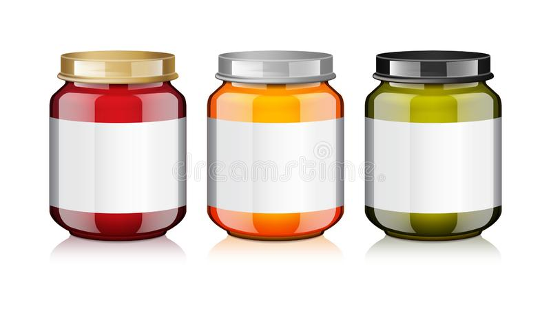 El tarro de cristal fijado con la etiqueta blanca para la miel, el atasco, la jalea o los alimentos para niños hacen puré falso e stock de ilustración