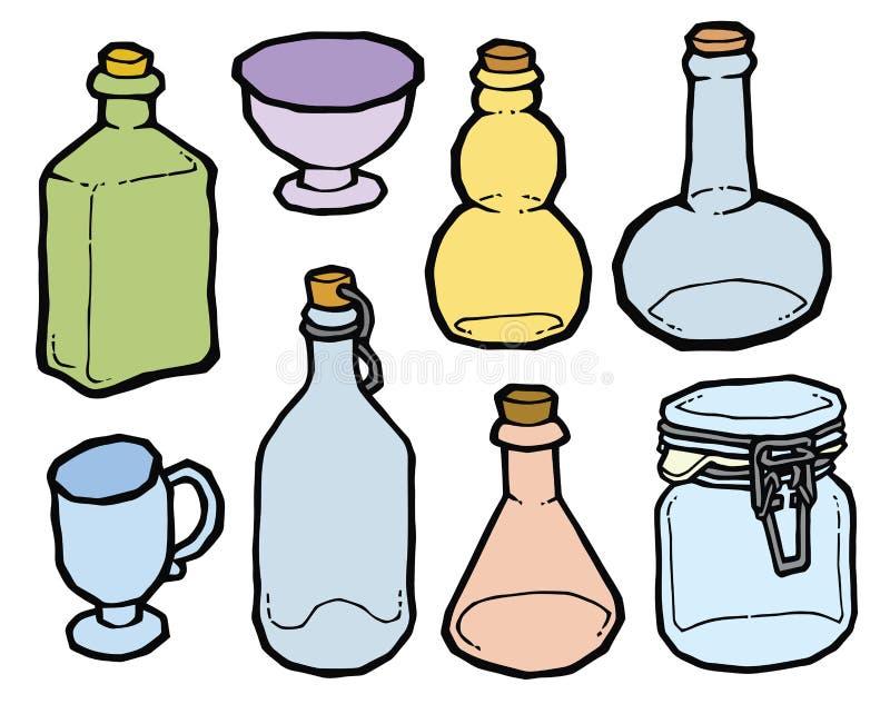El Tarro Y Las Botellas De Cristal Con El Corcho Vector El