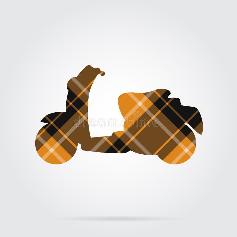 El tartán anaranjado, negro aisló el icono - vespa libre illustration