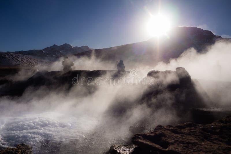 El Tatio喷泉,在圣佩德罗德阿塔卡马附近,智利 免版税库存照片