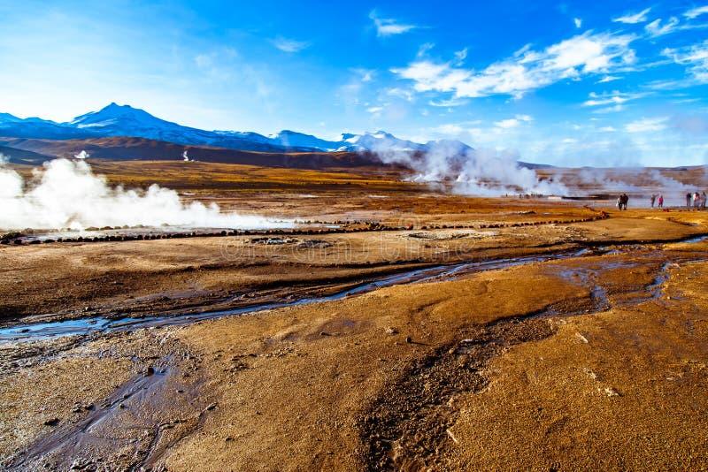 EL Tatio, un gisement de geyser situé dans les montagnes des Andes du Chili du nord à 4.320 mètres au-dessus de niveau moyen de l images libres de droits