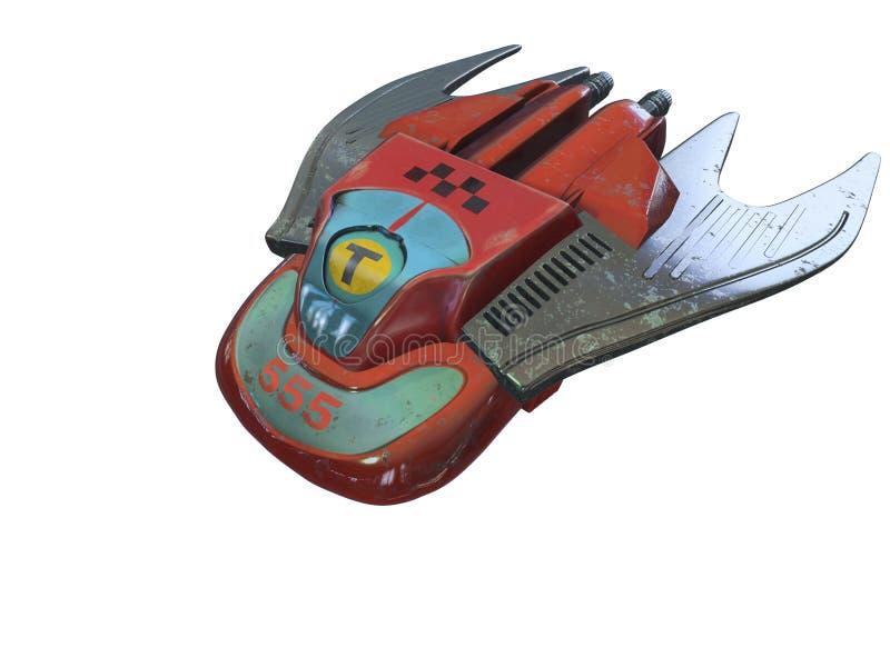 El taxi está en la manera Nave-taxi del espacio ilustración 3D aislante ilustración del vector