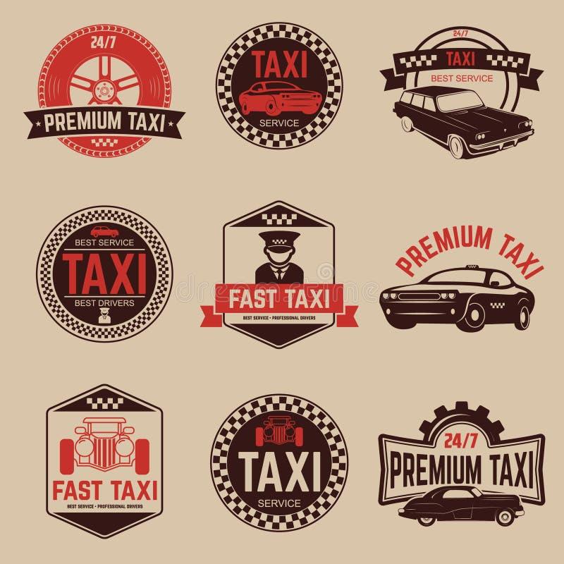 El taxi etiqueta la plantilla Servicio del taxi ilustración del vector