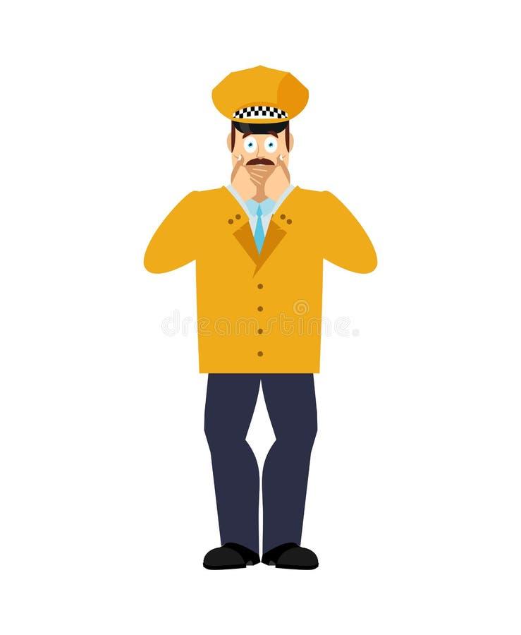 El taxista asustó OMG Cabbie oh mis emociones de dios Taxista asustado Ilustraci?n del vector stock de ilustración