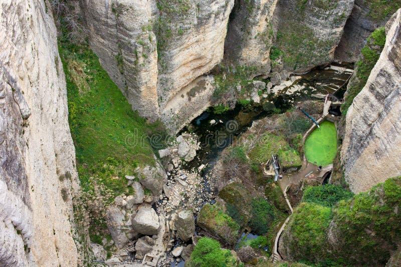 El Tayo River Gorge in Ronda. High cliffs of El Tajo river gorge in Ronda, Andalusia, Spain royalty free stock image