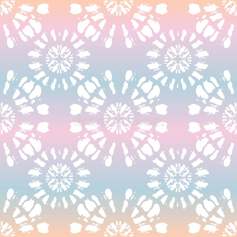 El teñido anudado blanco Shibori de Boho duplicó la mandala del resplandor solar en modelo inconsútil del vector olográfico del f stock de ilustración