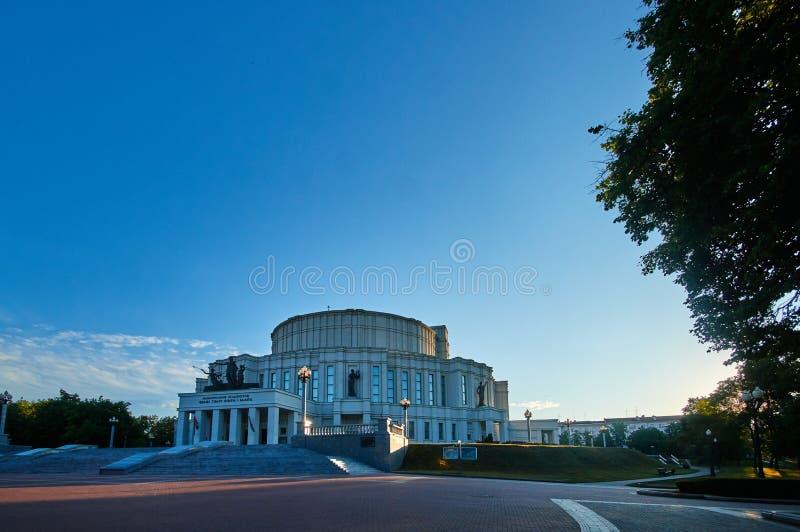 El teatro académico nacional de la ópera y de ballet de Bolshoi de la República de Belarús en Minsk, Bielorrusia imágenes de archivo libres de regalías