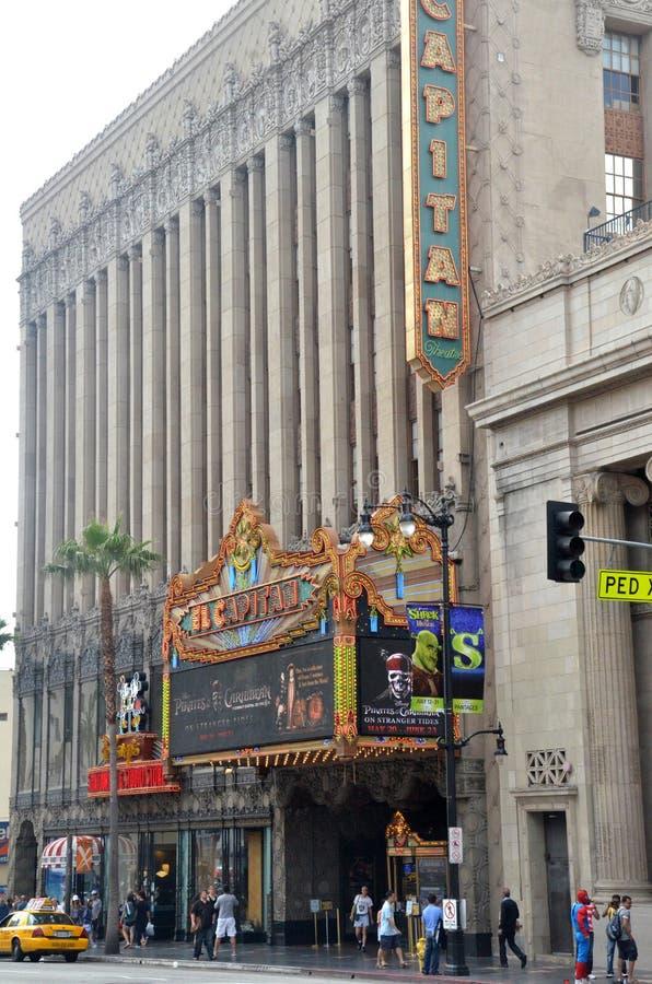 El teatro del EL Capitan es un palacio completamente restaurado de la película en Hollywood Boulevard, California foto de archivo libre de regalías