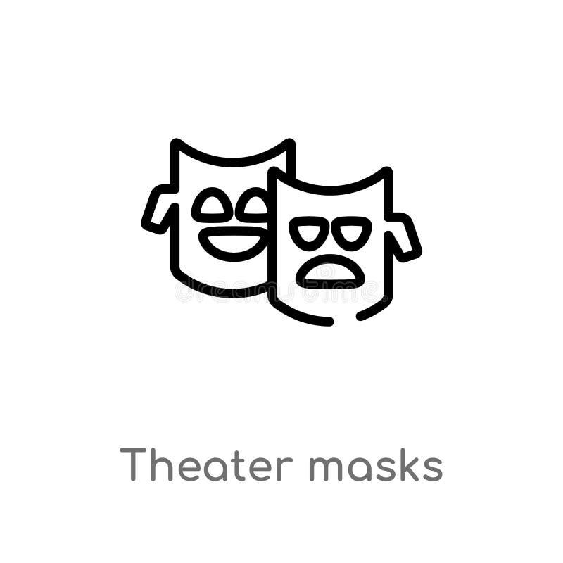 el teatro del esquema enmascara el icono del vector l?nea simple negra aislada ejemplo del elemento del concepto del brazilia Mov ilustración del vector