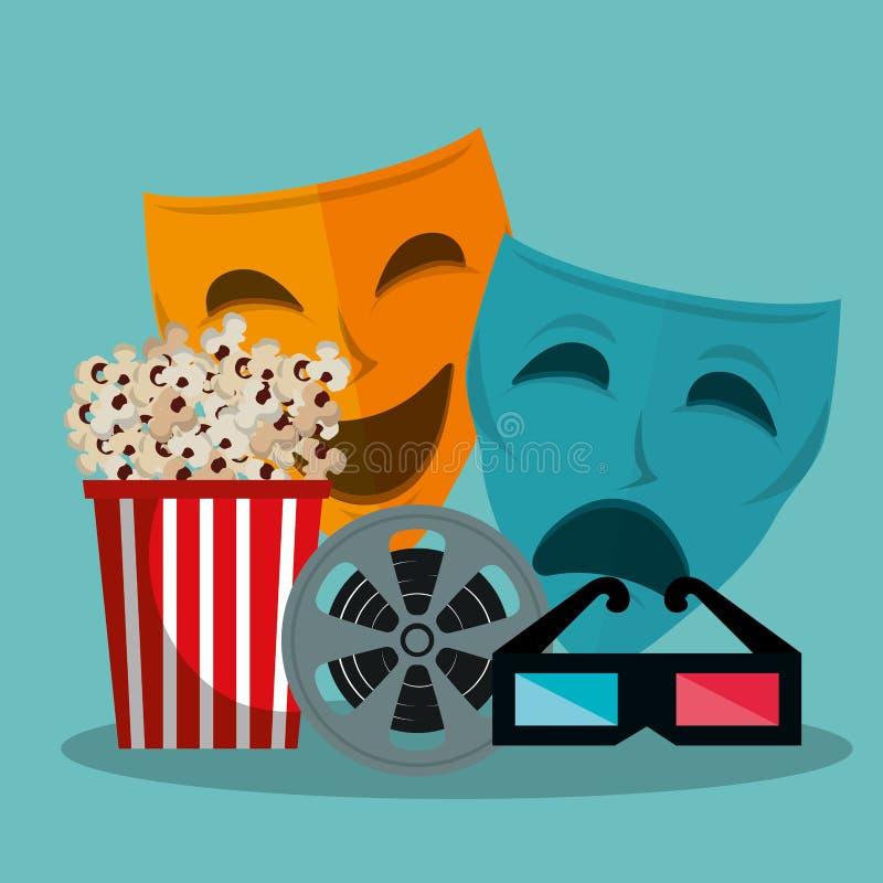 El teatro enmascara iconos cinematográficos ilustración del vector