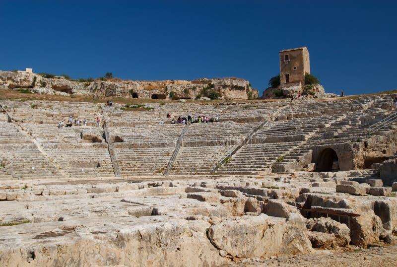 El teatro griego, Syracuse, Sicilia, Italia imagen de archivo libre de regalías