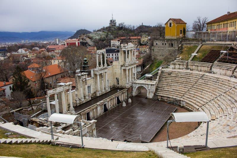 El teatro romano en Plovdiv imagen de archivo