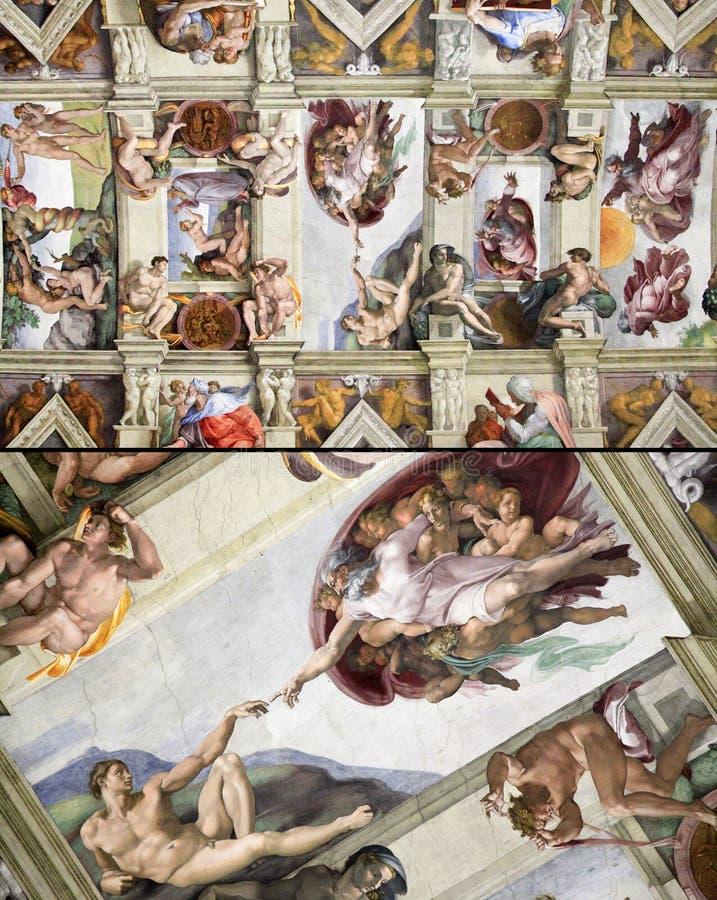 El techo de la capilla de Sistine, Vaticano, Italia imagen de archivo libre de regalías