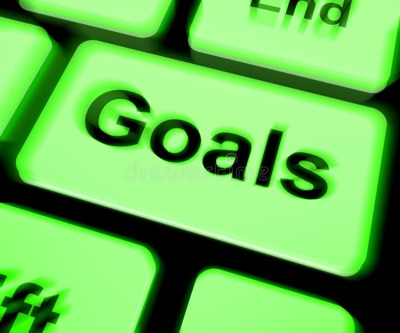 El teclado de las metas muestra objetivos o aspiraciones de los objetivos stock de ilustración