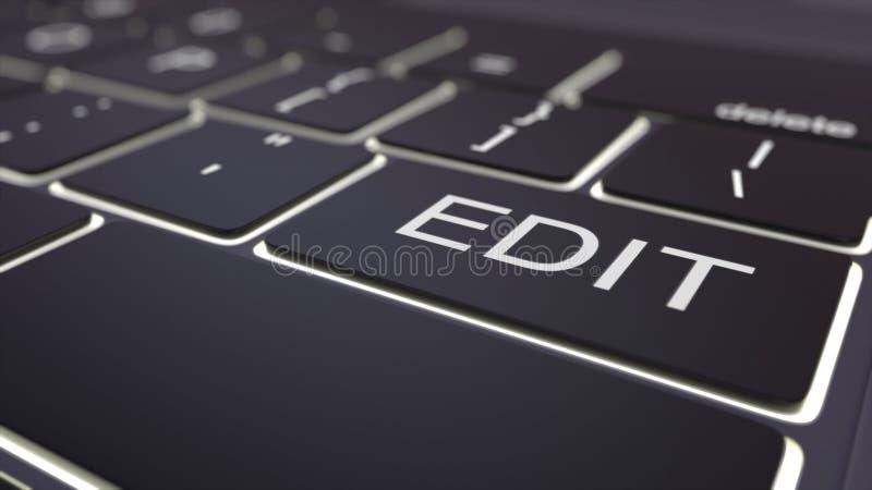 El teclado de ordenador luminoso negro y corrige llave Representación conceptual 3d stock de ilustración