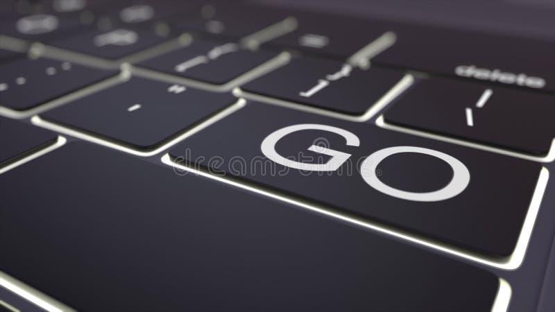 El teclado de ordenador luminoso negro y va llave Representación conceptual 3d ilustración del vector