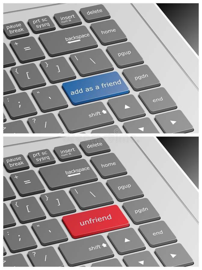El teclado del ordenador portátil con añade como un amigo y botones de Unfriend ilustración del vector