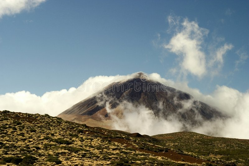 El Teide. Volcano El Teide in mist on the National park in Tenerife,spain stock photos