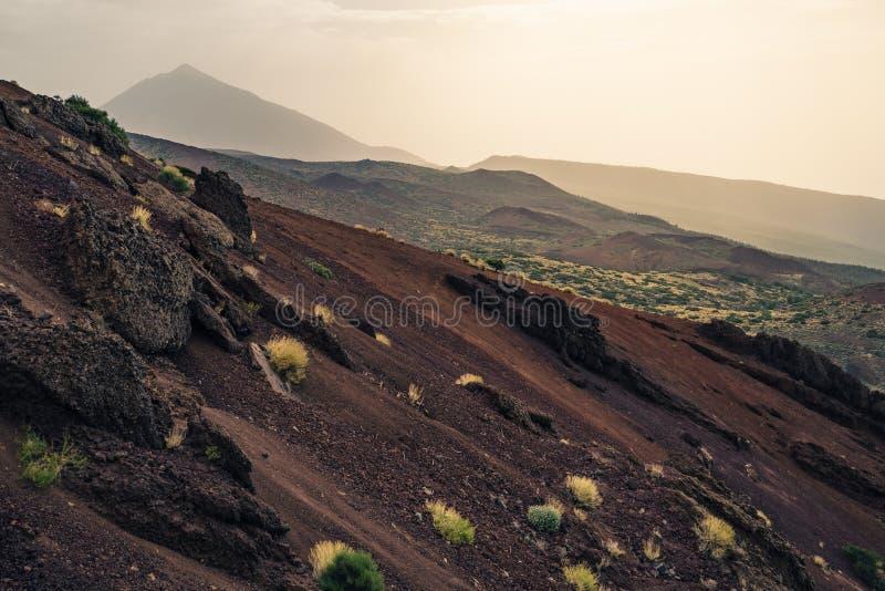 El Teide during sand storm. El Teide National park, Provinz Santa Cruz de Tenerife, Spain, 2017 stock photo