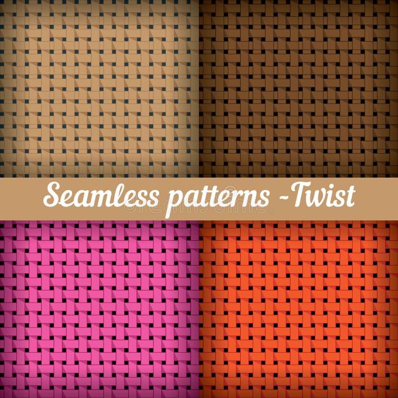El tejer, cesta Sistema del vector abstracto inconsútil ilustración del vector