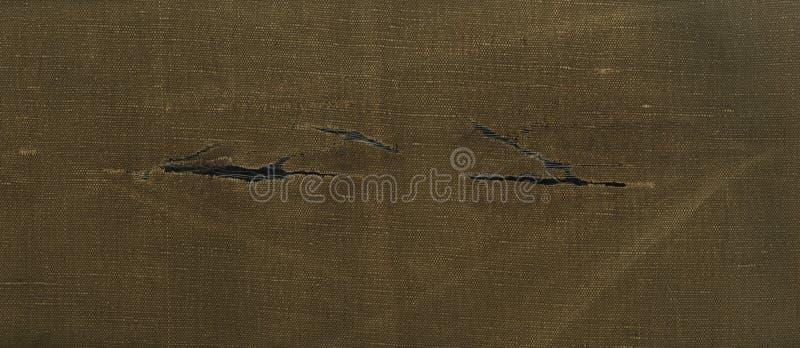 El tejido rasgado áspero del marrón amarillo de la textura de Skanirovaniya es lona foto de archivo