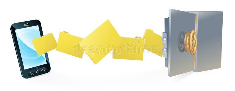 El teléfono celular seguro asegura la copia de seguridad de la transferencia stock de ilustración