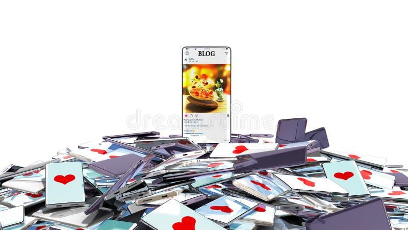 El teléfono de plena pantalla del concepto acertado del blog con un blog es en la montaña de teléfonos con los corazones en la pa ilustración del vector