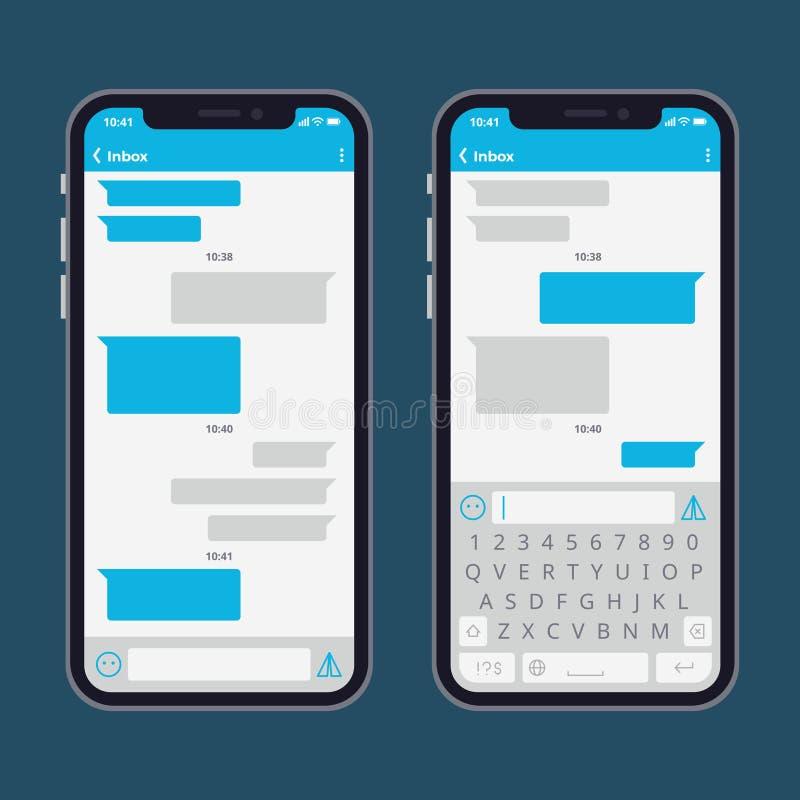El teléfono elegante con el mensaje de texto burbujea y los teclados vector la plantilla stock de ilustración