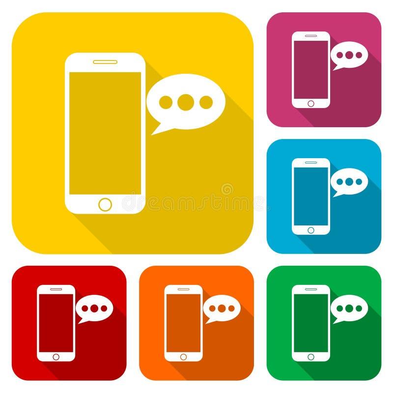 El teléfono elegante, iconos del mensaje de la voz fijó con la sombra larga ilustración del vector