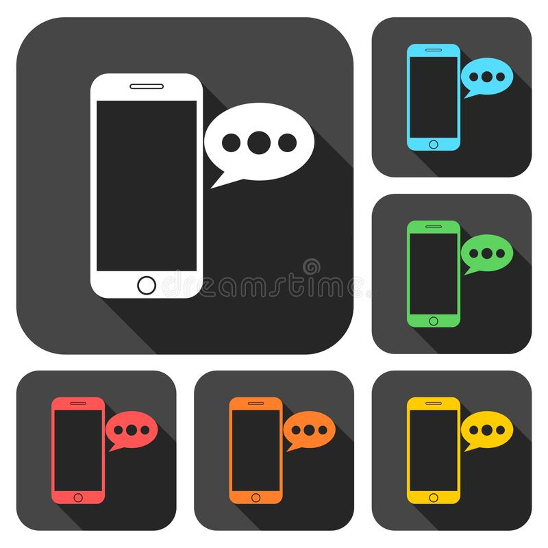 El teléfono elegante, iconos del mensaje de la voz fijó con la sombra larga libre illustration