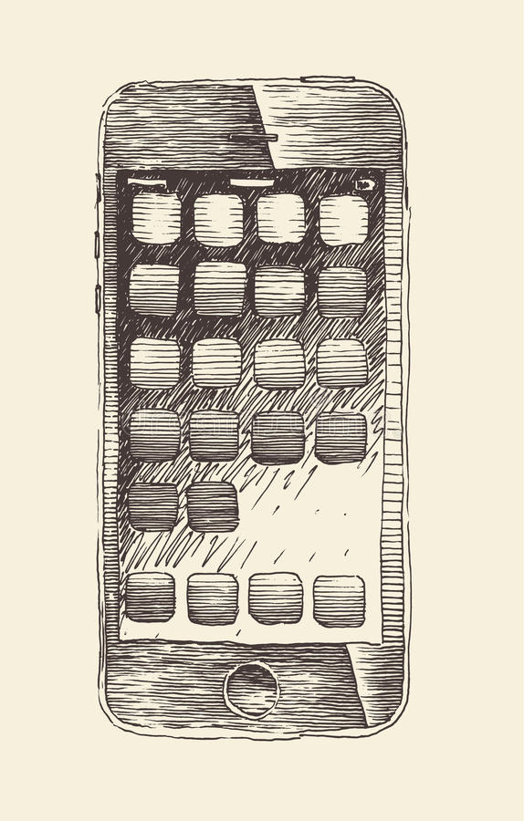 El teléfono elegante (iPhone), tableta móvil del smartphone, grabó el estilo, mano dibujada libre illustration